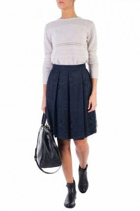 Синяя юбка с кружевом