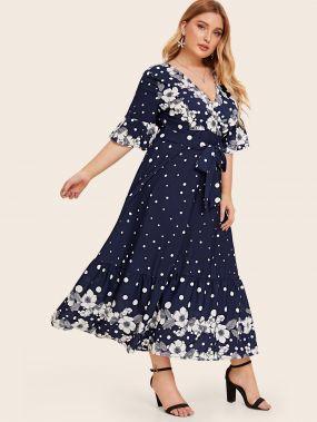 Платье в горошек с цветочным принтом, оборкой и поясом