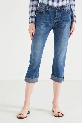 Укороченные синие джинсы