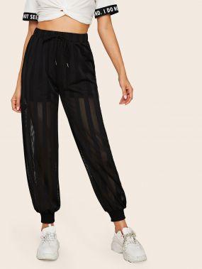 брюки на кулиске с сетчатыми вставками
