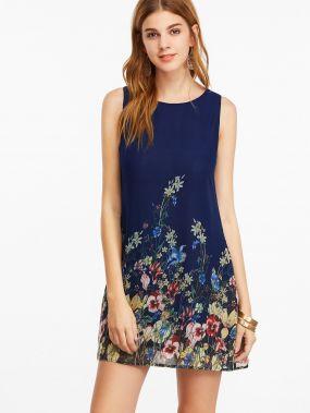 Тёмно-синее платье с цветочным принтом без рукавов