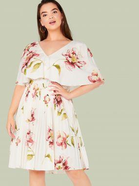 Платье с оригинальным рукавом, цветочным принтом и V-образным вырезом размера плюс