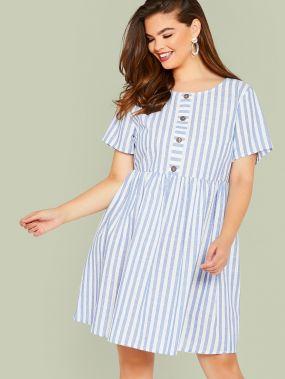 Платье в полоску размера плюс с пуговицами