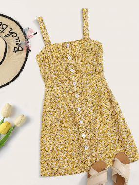 Платье на запах с пуговицами и цветочным принтом