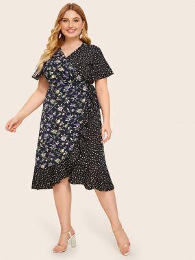 Цветочное платье размера плюс с далматинским принтом