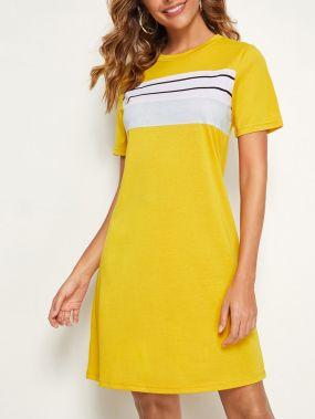 Контрастное платье-футболка в полоску