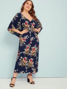 Платье с оригинальным рукавом, цветочным принтом и глубоким V-образным вырезом размера плюс