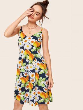 Цветочное платье на бретелях с лимонным принтом