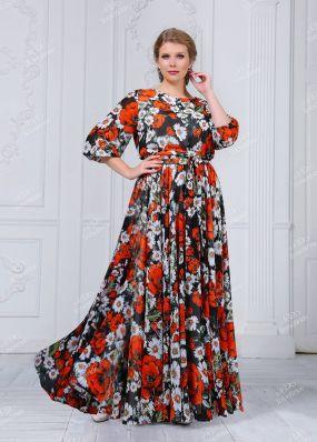 Длинное шифоновое платье с цветочным принтом ND101B