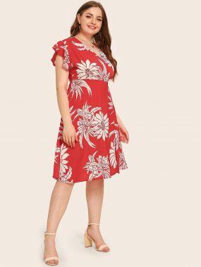 Платье размера плюс с оригинальным рукавом и цветочным принтом