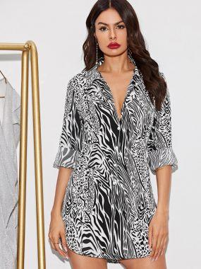 Платье-рубашка в полоску с пуговицами