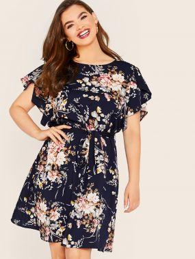 Платье с поясом и цветочным принтом размера плюс