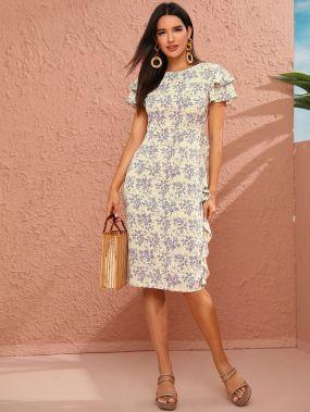 Шифоновое платье с цветочным принтом и разрезом