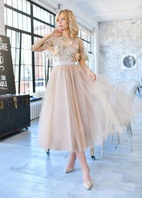 Платье миди с фатиновой юбкой MR076B