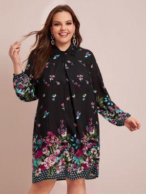 Платье-рубашка размера плюс с цветочным принтом