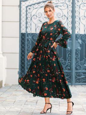 Расклешенное платье со складками и цветочным принтом