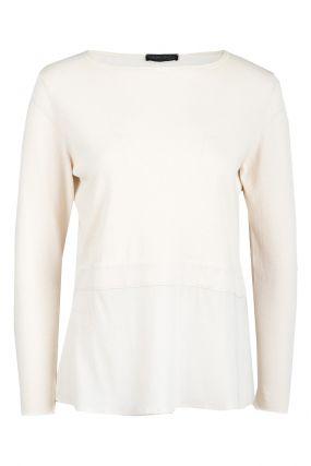 Кремовый пуловер с отделкой из шелка