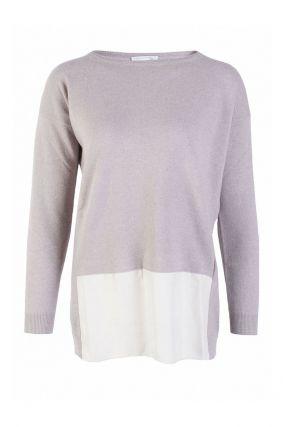 Серый трикотажный пуловер с удлиненной спинкой