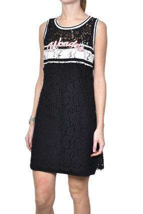 Черное платье мини из гипюра