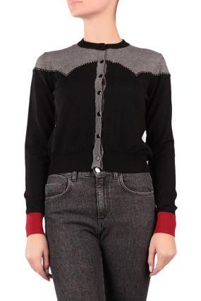 Черно-серая кофта на пуговицах