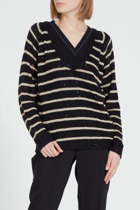 Шерстяной пуловер в полоску