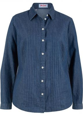 Блузка джинсовая с принтом, длинный рукав