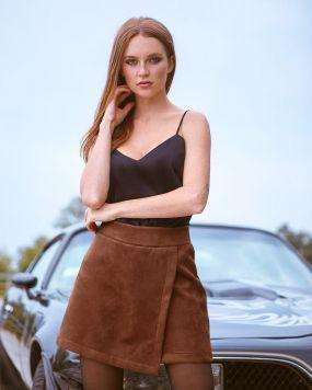 Замшевые шорты-юбка