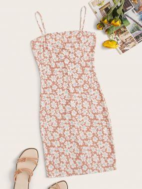Облегающее платье на бретелях с цветочным принтом