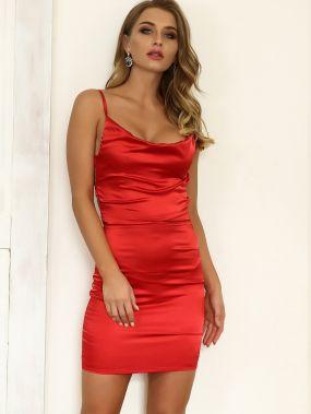 Красное Атласное Мини Платье На Бретельках