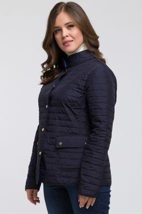 Модная стеганая куртка на весну с воротником-стойкой