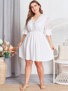 Прозрачное платье с кружевом размера плюс
