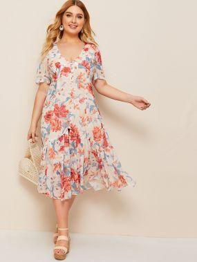 Платье с цветочным принтом и пуговицами размера плюс