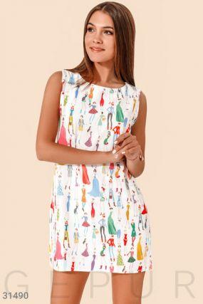 Платье-мини в яркий принт