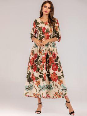 Длинное платье со складками и цветочным принтом