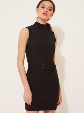 Мини-платье с высоким вырезом и поясом