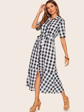 Платье-рубашка в клетку с оборками и поясом