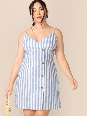 Размер плюс однобортное полосатое платье на бретелях