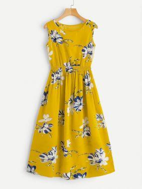 Размер плюс платье с цветочным принтом и эластичной талией