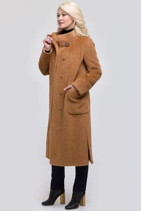 Длинное прямое пальто из альпака сури с воротником-стойкой