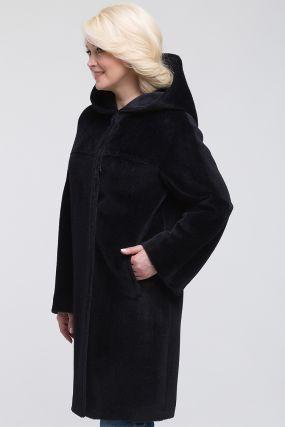 Осеннее пальто из альпака с капюшоном