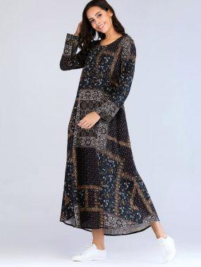 Платье с скрытыми карманами и цветочным принтом