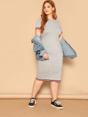 Облегающее платье с полосками размера плюс