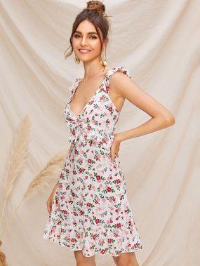 Платье с оборками и цветочным принтом