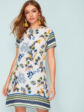 Платье с цветочным принтом и застежкой сзади