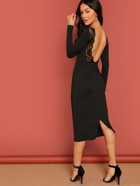 Платье карандаш с открытой спиной и кружевной отделкой