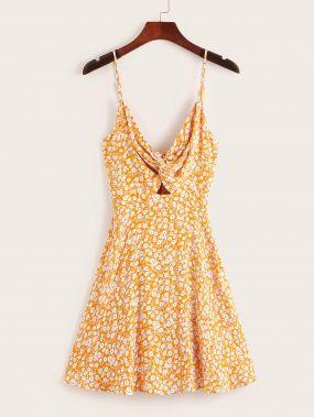 Платье с узелом и витой и цветочным принтом