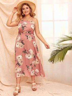 Размер плюс платье на бретелях с цветочным принтом