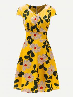 Размера плюс платье на молнии сзади и цветочным принтом