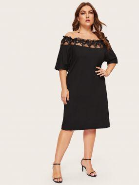Размера плюс платье с контрастной сетчатой вставкой и открытыми плечами