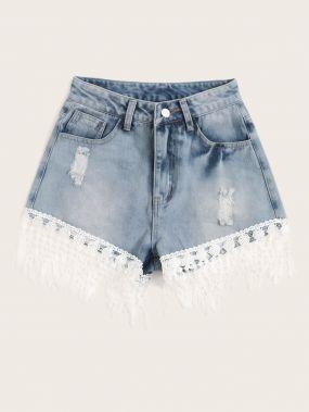 Кружевные рваные джинсовые шорты с бахромой